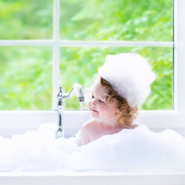 Little girl In suds